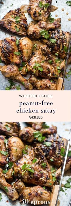 This grilled peanut-free chicken satay tastes just like the Thai classic but without any peanuts. It comes together quickly and won't heat up the kitchen, making this peanut-free chicken satay bound to be one of your favorite grilled paleo or grilled Whole30 recipes. This peanut-free chicken satay is stinkin' delicious and is such a great Whole30 dinner recipe or paleo dinner recipe. Even better that it's a grilled paleo recipe and grilled Whole30 recipe, right?! Yum!