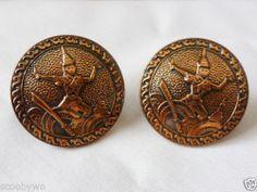 Vintage Copper Embossed SIAMESE DANCER Siam ROUND Cufflinks Cuff Links