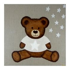 Tableau Ourson dans les étoiles blanc perle (personnalisable) : Les tableaux de Saam - Tableau personnalisé - Berceau Magique Nightmare Before Christmas, Teddy Bears, Decoupage, Mandala, Animals, China Painting, Watercolor Painting, Canvases, Wooden Picture
