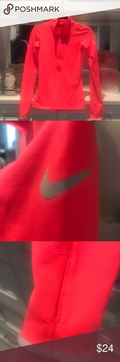 Nike 3/4 zip pullover Awesome neon pink with reflective NIKE shoulder swish and arm bands with thumb hole for outdoor comforts Nike Tops
