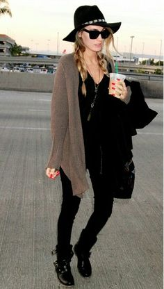 Black outfit with brown cardigan