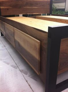 """<meta name=""""p:domain_verify"""" Modern Sappy Walnut Queen Platform Bed w/ six drawers – TheStocktonMill Woodworking For Mere Mortals, Woodworking Bench Plans, Woodworking Shop, Woodworking Classes, Woodworking Patterns, Woodworking Videos, Woodworking Projects, Woodworking Apron, Woodworking Chisels"""