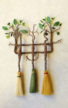 D/house Miniature Handmade Magical Woodland Broom Wall Rack 1/12th Scale Witch