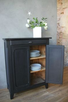 Commode TRONE 3 tiroirs Noir Highboard Sideboard Armoire Couloir Diele