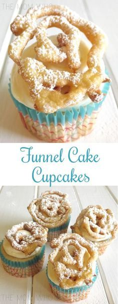 FUNNEL CAKE CUPCAKES - Making these brought on the nostalgia of going to the carnival and eating funnel cakes. Funnel Cake Cupcakes, Oreo Cupcakes, Gourmet Cupcakes, Yummy Cupcakes, Funnel Cakes, Cupcake Cakes, Cup Cakes, Birthday Cake Cupcakes, Summer Themed Cupcakes