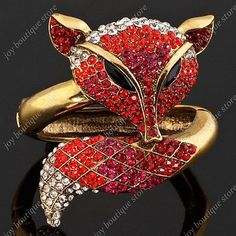 cool  fire Red Fox Animal rhinestone Crystal fashion jewelry gold Bracelet Bangle gift - For Sale View more at http://shipperscentral.com/wp/product/fire-red-fox-animal-rhinestone-crystal-fashion-jewelry-gold-bracelet-bangle-gift-for-sale/