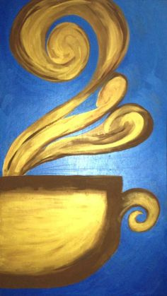Golden Cup. Original Acrylic Painting on Oak Wood Panel. 1'x2' coffee