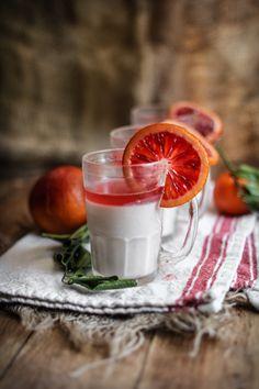 ♂ Food drink styling photography Blood Orange Panna Cotta