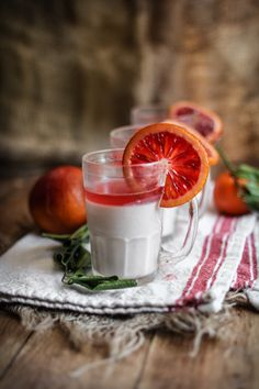 ♂ Food drink styling photography Blood Orange Panna Cotta
