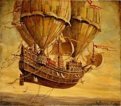 Art By: Mike Amend One of the perfect steampunk (Neo-Victorian) additions I'd love to add to my treehouse are flying ships/flying machine . Steampunk Ship, Steampunk Kunst, Steampunk Artwork, Fantasy World, Fantasy Art, Flying Ship, Dieselpunk, Art Plastique, Hot Air Balloon