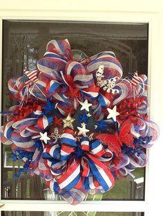 July 4th deco mesh wreath 4th of July Wreath. by WreathsEtc