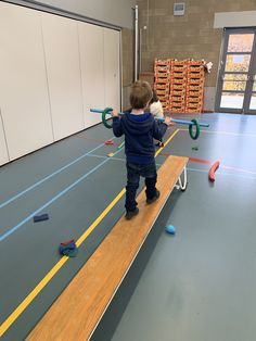 Put some rings on both ends of a stick and let the kids walk a bench or other surface to experience their balance in the side surface. The heavier the weight on the stick, the harder