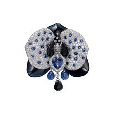 Cartier - High jewelry exceptional piece which can be worn as a long necklace, corsage ornament, brooch, or hair ornament. Sculpted sapphires, diamonds, and sapphires set in 18k white gold.