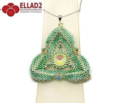 Peyote stitched triangle pendant.Beading Tutorial for Minty Pendant is very detailed, easy to follow, step by step, with photos of each step.