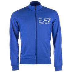 Emporio Armani EA7 Blue Mens Visibility Line Zip Sweatshirt via Polyvore featuring men's fashion, men's clothing, men's activewear and men's activewear tops