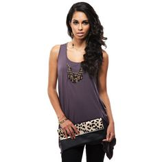 Purple Viscose Embellished Yoke Top