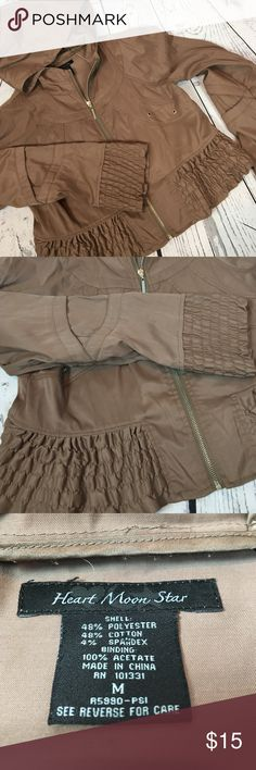 """CHIC Heart Moon Brown Faux Leather Jacket  Sz M This. Is. So. Cute. Heart Moon Star Faux leather ruffled cuff/hem tan jacket crop style. This is adorable paired with a tunic & jeans!! Perfect layer piece. It has a tiny pit of piling at the right shoulder but otherwise looks RAD!! Fully zips up & hooded. Women's Size Medium. From a smoke free home!!  Measurements (flat): Armpit to armpit: 19.5"""" Armpit to cuff: 19"""" Shoulder to bottom: 20"""" Across bottom: 22"""" Jackets & Coats"""