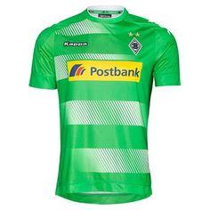 Nouveau Maillot de foot Gladbach Exterieur 2016 2017 Principalement vert clair, comporte un panneau d'évanouissement des cerceaux blancs sur le devant,
