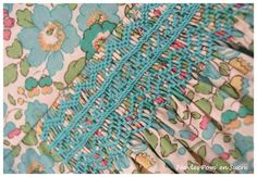 Picking out a colour in the fabric for the embroidery thread/floss Canadian Smocking, Smocking Plates, Smocks, Couture Sewing, Christening Gowns, Daisy, Smock Dress, Embroidery Thread, Doll Clothes