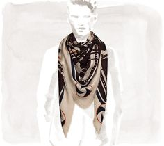 """Imprimeur Fou  Hermes giant silk/cashmere scarf for men, hand-rolled (56"""" x 56"""")"""