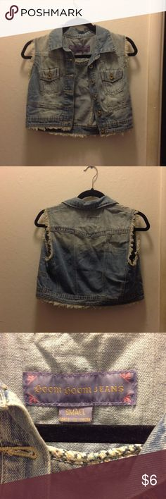 Cropped jean vest Light colored jean vest. Buttons are gold. Jackets & Coats Vests