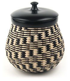 """Black and White Basket 5.5"""" dia. x 6.5"""" h by J. Anthony Stubblefield"""