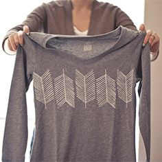 Carve a simple arrow stamp and create your own design on a shirt or other textile of your choice.