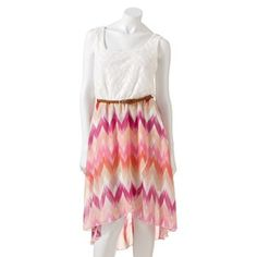 Lily Rose Crochet Hi-Low Chevron Dress - Juniors #Kohls  I have the blue version of this dress