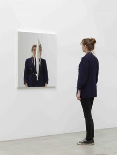 JEPPE HEIN  Vertical Cut (2012) Mirror foil on aluminium frame 100 x 80 cm