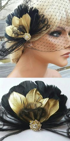 Gatsby Style Feather Fascinator, 1920's jazz age theme Black and gold feathers ty bridal headpiece. A rhinestone jewel in a gold setting at center. Great for bridal wedding, special occasion, speakeasy, jazz age lawn party, bridesmaids, or flower girls. Gatsby Outfits ideas. #Gatsby #gatsbywedding #gatsbyparty #1920s #roaring20s #fascinators #downtonabbey #affiliatelink #ebayfinds