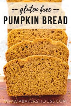 Gluten free pumpkin bread is a moist, dairy-free, flavorful quick bread that is perfect for the fall season. Make this pumpkin spice bread in under an hour! #lovesprouts #abakershouse #pumpkin #glutenfree #quickbread