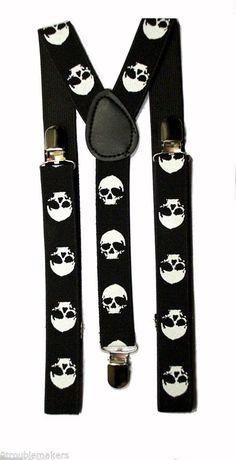 Youth Black w/Skulls Adjustable Suspenders Braces - Kids Rockabilly Punk Ska
