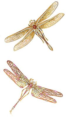 Tiffany & Co. Dragonfly brooches with iridescent wings.