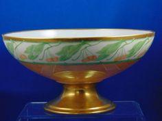 Haviland Limoges Arts & Crafts Lustre Cherry Design Pedestal Centerpiece Bowl (c.1894-1931)