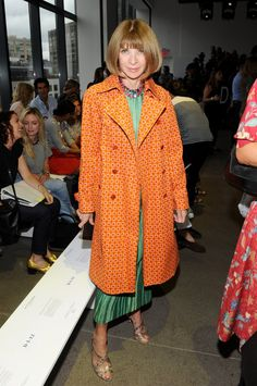 Pin for Later: These Stars Have Been Sitting Pretty in NYFW's Front Row Anna Wintour Only fashion icon Anna Wintour could make the bright combo of orange and green look perfectly chic.