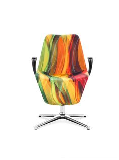 "Model: Pelikan. Designer: Mac Stopa / M. Ballendat. Product Code from photo: Pelikan 10F 2P. The special version of Pelikan in ""Waves of Creativity"" upholstery, presented as part of ""Energy for Creativity"" installation at Salone del Mobile 2015. #profim  #reddotaward"