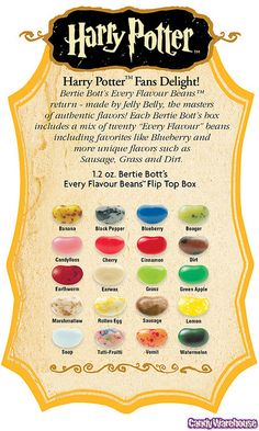 Harry Potter Bertie Bott's Jelly Beans Flavor Guide by candywarehouse, via Flickr #wedding #HarryPotter #Hogwarts #nerdy