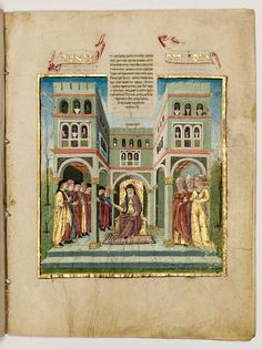 © The Israel Museum, Jerusalem, Job's wealth restored at the end of the story. Fol. 65v. The Rothschild Miscellany. Northern Italy. ca. 1460-80. Handwritten on vellum; brown ink, tempera, gold and silver leaf; square and semi-cursive Ashkenazic script. Height: 21 cm; Width: 15.9 cm. Gift of James A. de Rothschild, London. Accession number: B61.09.0803o.s.; 180/051.
