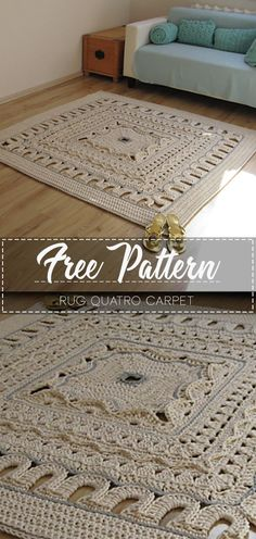 Rug Quatro carpet – Free PatternYou can find Doily rug and more on our website. Crochet Doily Rug, Crochet Rug Patterns, Crochet Carpet, Free Crochet, Crochet Home Decor, Crochet Crafts, Crochet Projects, Rugs On Carpet, Carpets