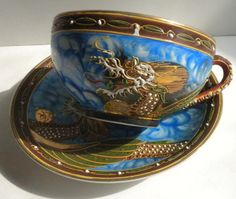 Vintage Moriage Dragonware Lithophane Tea Cup and by oldandnew8, $22.00
