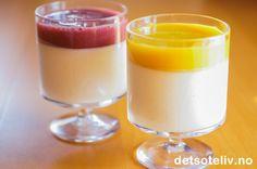 Vaniljekesam-panna cotta med smoothiegelé