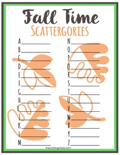 Fall Scattergories Game & Free Printable via Fall Party Games, Fall Games, Memory Games For Seniors, Games For Ladies, Ladies Group, Meeting Games, Autumn Activities, Work Activities, Activity Ideas