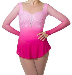 Made-To-Order Dresses — Kimberly Pascua Diy Shorts, Skate Wear, Figure Skating Dresses, Dance Costumes, Pink Dress, Sleeve Styles, Amanda, Pattern Design, Long Sleeve