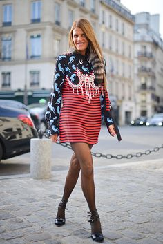 Anna dello Russo poses wearing Miu Miu before the Miu Miu presentation at Place Beauvau during Haute Couture on January 25 2016 in Paris France