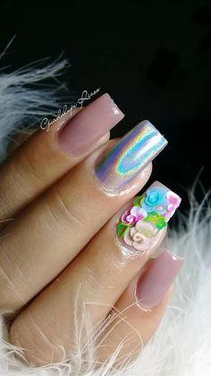 3d Nails, Love Nails, Sculptured Nails, Gel Nail Art Designs, Nail Art Rhinestones, Pretty Nail Art, Classy Nails, Super Nails, Nail Art Diy