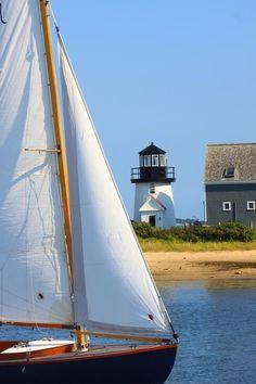Cape Cod Photograph - Hyannis Harbor Lighthouse Sailboat by John Burk Nantucket, Places To Travel, Places To Go, Les Hamptons, Belle Villa, Sail Away, Am Meer, Coastal Living, Belle Photo