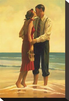 Alone at Last (Couple Kissing on the Beach), by Jack Vettriano (Scottish, b. Jack Vettriano, Edward Hopper, Figurative Kunst, Fine Art Posters, Beach Art, Stretched Canvas Prints, Art Gallery, Pin Up, Illustration Art