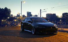 Download wallpapers 4k, Mitsubishi Lancer Evolution X, tuning, parking, night, supercars, black Lancer, Mitsubishi