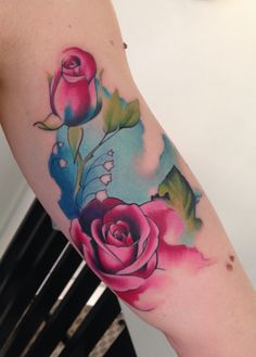 Watercolor tattoo made by instagram.com/whipshade/ #watercolor #tattoo #roses