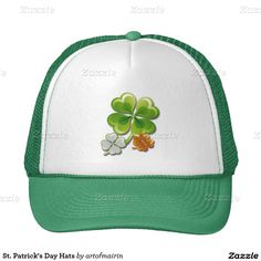 Lucky Charms. Ireland Flag Colors Shamrocks Design St. Patrick's Day Hats. Matching cards and other products available in the Holidays / St.Patrick's Day Category of the artofmairin store at zazzle.com